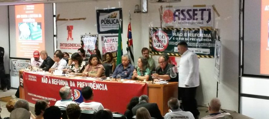Lançamento da Frente Parlamentar em Defesa da Previdência no Auditório Paulo Kobayashi da ALESP