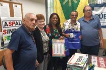 Visita de Mara Valverde e Raimundo Façanha, diretores do Sindler/RO e da Fenale, à sede da Aspal
